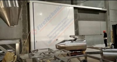 Откатные противопожарные ворота FireTechnics EI60, с калиткой в Узбекистане