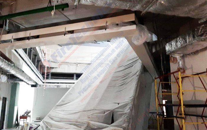 Идет процесс монтажа противопожарной шторы FireTechnics-EI180 в Узбекистане